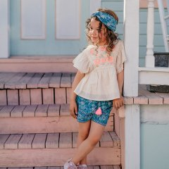 Louise Misha Shorts Vallaloid Emerald Flowers ルイーズミーシャ ショートパンツ(エメラルドフラワー)