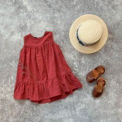 【SALE20%OFF】1 + in the family ORIO dress red ワンモア イン ザ ファミリー ノースリーブワンピース(レッド)