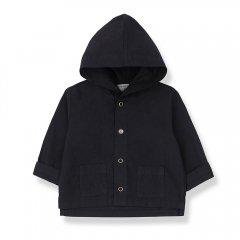 1 + in the family BASTIA  jacket blue notte azzurro ワンモア イン ザ ファミリー フード付きジャケット(ネイビー)