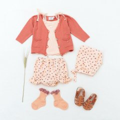tocoto vintage Strawberry print bloomer with ruffles SALMON トコト ヴィンテージ 苺柄ブルマ(サーモン)