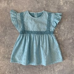 tocoto vintage Swiss embroidered baby blouse with lace GREEN トコト ヴィンテージ アイレットレースブラウス(グリーン)