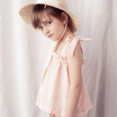 【SALE30%OFF】tocoto Sleeveless swiss embroidered blouse SALMON トコト ヴィンテージ ノースリーブアイレットレースブラウス(サーモン)