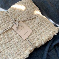 Garbo&Friends Mellow Lin Blanket S ガルボアンドフレンズ フリンジリネンブランケットS(ベージュ)