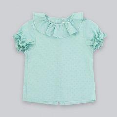 la petite blossom Basic GreenShirt ラ プティ ブロッサム プラメティラッフルカラー半袖ブラウス(グリーン)