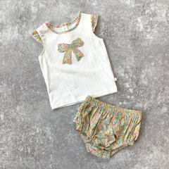 【SPECIAL OFF】minihaha LIBERTY SINGLET + FRILL BLOOMER ミニハハ リバティトップス+ブルマセット(イエロー)