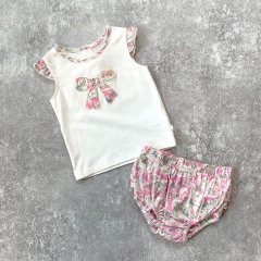 【SPECIAL OFF】minihaha LIBERTY SINGLET + FRILL BLOOMER ミニハハ リバティトップス+ブルマセット(ピンク)