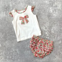 【SPECIAL OFF】minihaha LIBERTY SINGLET + FRILL BLOOMER ミニハハ リバティトップス+ブルマセット(レッド)