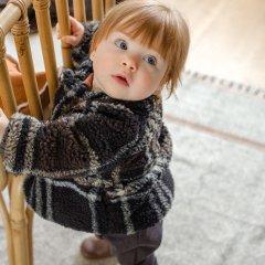 1 + in the family COTIELLA coat 108. blue notte ワンモア イン ザ ファミリー チェック柄ノーカラーダブルコート(ネイビー)