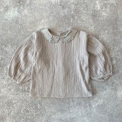 tocoto vintage Bobo collar blouse with puff sleeves  GREY トコト ヴィンテージ 刺繍襟付きブラウス(グレー)