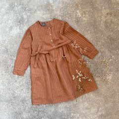 【SALE20%OFF】tocoto vintage Waist bow dress with lurex stripes PINK トコト ヴィンテージ ウエスト紐付きワンピース(ピンク)
