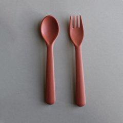 cink Bamboo Cutlery Set Brick サンク バンブースプーン&フォークセット(ブリック)