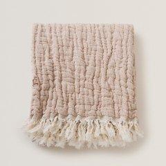 Garbo&Friends Mellow Tawny Blanket Throw S ガルボアンドフレンズ フリンジリネンブランケットS(ピンク)