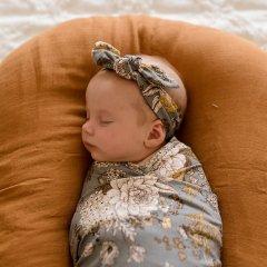 LUNA'S TREASURES INDIGO BLOOMS jersey topknot headband newborn ルナズ トレジャーズ ジャージヘアバンド(インディゴブルームス)