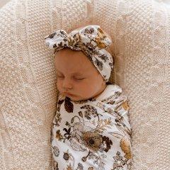 LUNA'S TREASURES GOLDIE BLOOMS jersey topknot headband newborn ルナズ トレジャーズ ジャージヘアバンド(ゴールディブルームス)