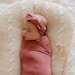 LUNA'S TREASURES MAUVE ROSE jersey topknot headband newborn ルナズ トレジャーズ ジャージヘアバンド(モーブローズ)