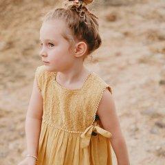 Louise Misha Dress Paolina Soft Honey ルイーズミーシャ サイドリボン刺繍ノースリーブワンピース(ソフトハニー)