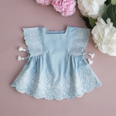 Louise Misha Baby Dress Cordoba Chambray ルイーズミーシャ フレアスリーブ刺繍ワンピース(シャンブレー)