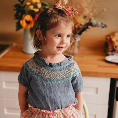 Louise Misha Baby Blouse Tyra Storm Plumetis ルイーズミーシャ スモッキング刺繍半袖ブラウス(ストーム)