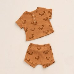 Play Up Pyjamas in organic cotton with buttons Botany プレイアップ ドッグフェイスプリント上下セットアップ(ローシェンナ)