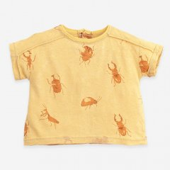 Play Up T-shirt in organic cotton and linen Botany プレイアップ バグプリントTシャツ(イエロー)