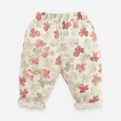Play Up Linen trousers with front pocket Botany DANDELION プレイアップ 花柄ロングパンツ(ダンデライオン)