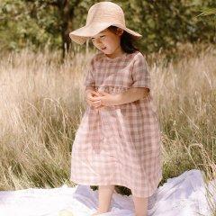 Nellie Quats Hopscotch Dress Rose Check Linen ネリークアーツ 半袖チェック柄リネンワンピース(ローズ)