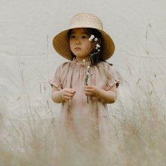 Mother May I Dress - Clay Linen ネリークアーツ ギャザースリーブリネンワンピース(クレイ)