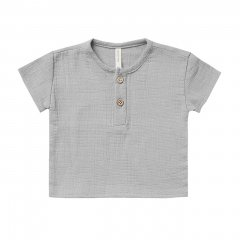 Quincy Mae WOVEN HENRY TOP PERIWINKLE クインシー メイ ノーカラーシャツ(ペリウィンクル)