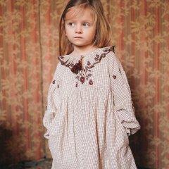 Louise Misha Baby Dress Leonise Cream Check ルイーズミーシャ 長袖ワンピース(クリームチェック)