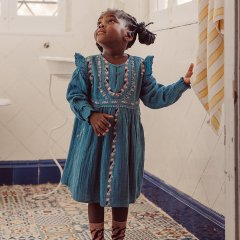 Louise Misha Dress Bianca Blue ルイーズミーシャ 長袖ワンピース(ブルー)