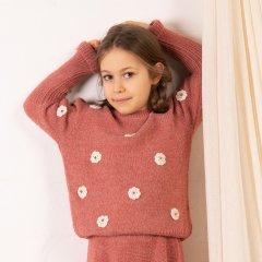 KOKORI DAISY JUMPER ANTIQUE ROSE ココリ 刺繍長袖ニット(アンティークローズ)