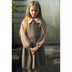 Popelin Taupe sleeveless dress ポペリン ノースリーブワンピース(トープ)