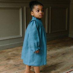 Nellie Quats Marbles Dress  Cornflower Blue Linen ネリークアーツ リネン長袖ワンピース(ブルー)