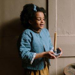 Nellie Quats Twister Jacket Cornflower Blue Linen Lined Edith Rose Liberty Print キルティングジャケット(ブルー)
