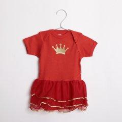 【2nd anv SALE 50%OFF!】beauty & the bib クラウン刺繍入りチュールスカート付きボディスーツ (レッド)