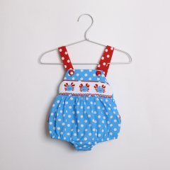【2nd anv SALE 50%OFF!】Smocked or Not Red & Blue Smocked Crab Bubble Bodysuit かに刺繍ドット柄サロペット