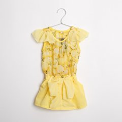【SPECIAL PRICE OUTLET 90%OFF!】シフォン・フルーツ柄ワンピース (イエロー)