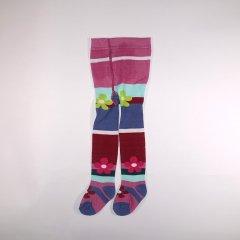 【SALE 60%OFF】Pink & Aqua Stripe Tights フラワー&ボーダー柄 タイツ (ダークピンク&アクア)