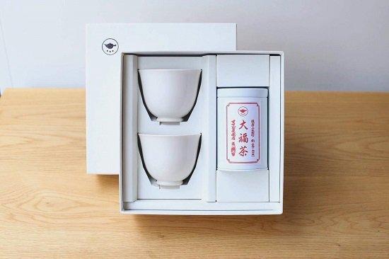 【大福茶】80g缶 すすむ湯呑み2個 お詰め合わせ