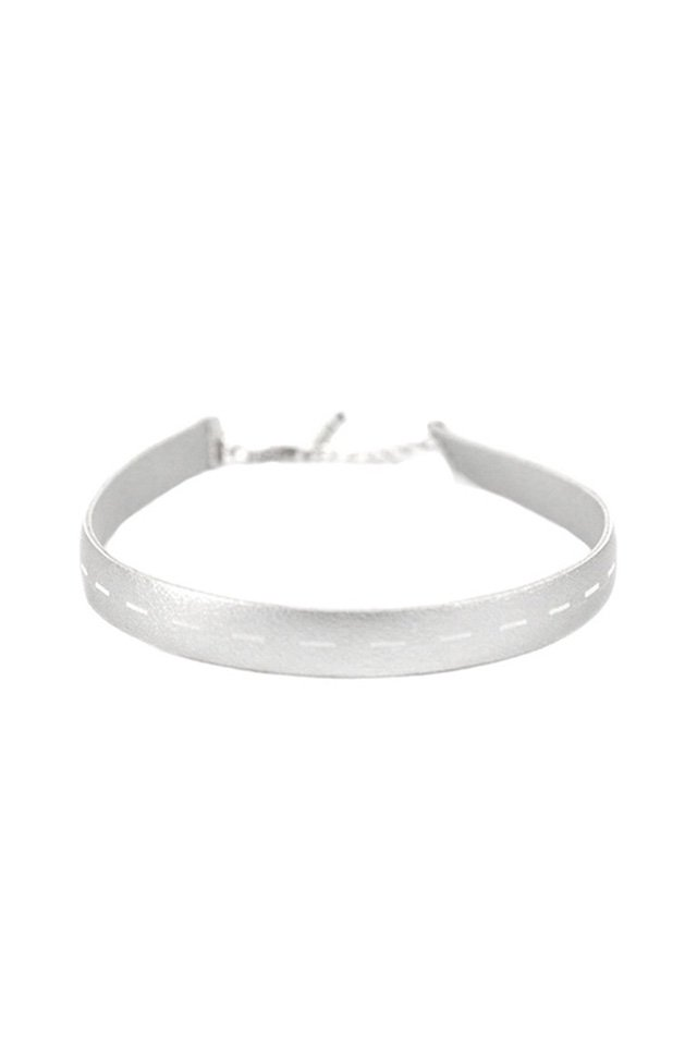 unclod - FAKE LEATHER CHOKER(SILVER)