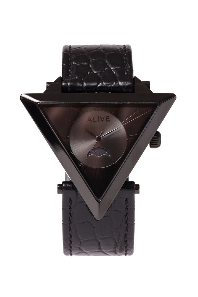 ALIVE - A-FRAME MOONPHASE (Black-Black Croco)「アライブ」[ウォッチ]