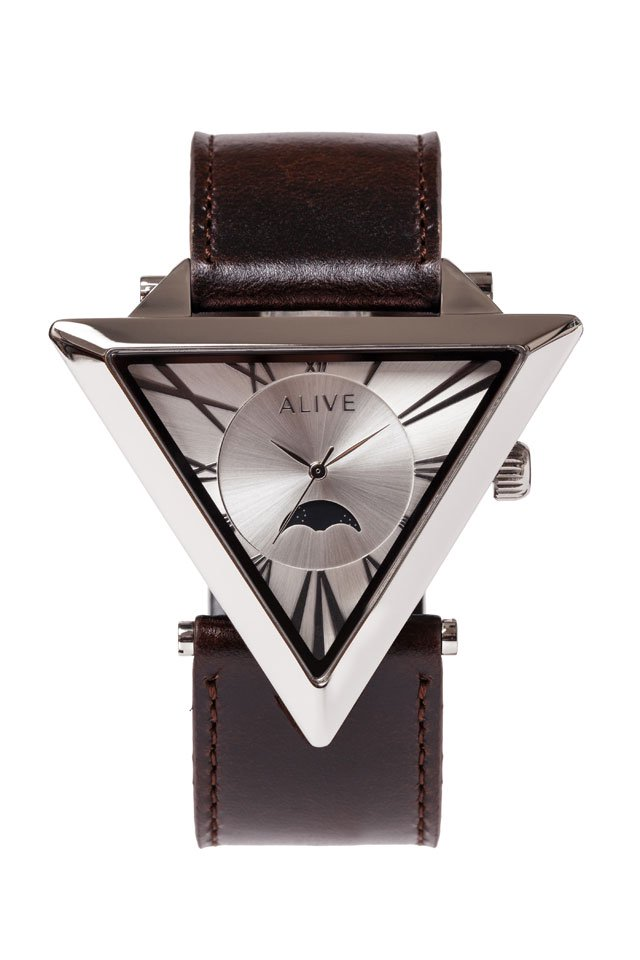ALIVE - A-FRAME MOONPHASE (Silver-Dark Brown)「アライブ」[ウォッチ]