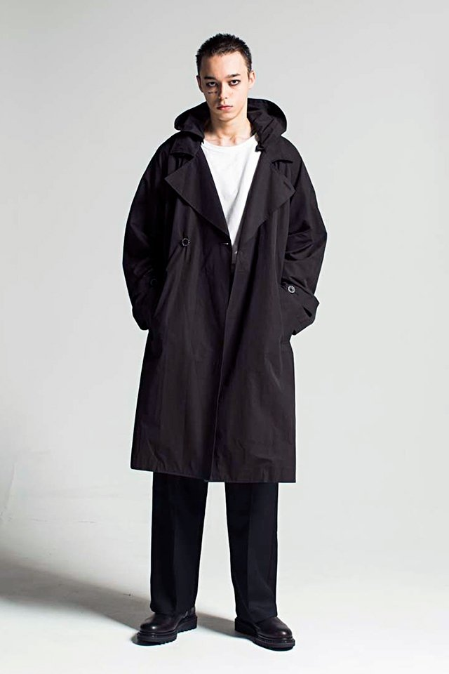 MUZE - HOODED TRENCH COAT (BLACK)「ミューズ」[アウター]
