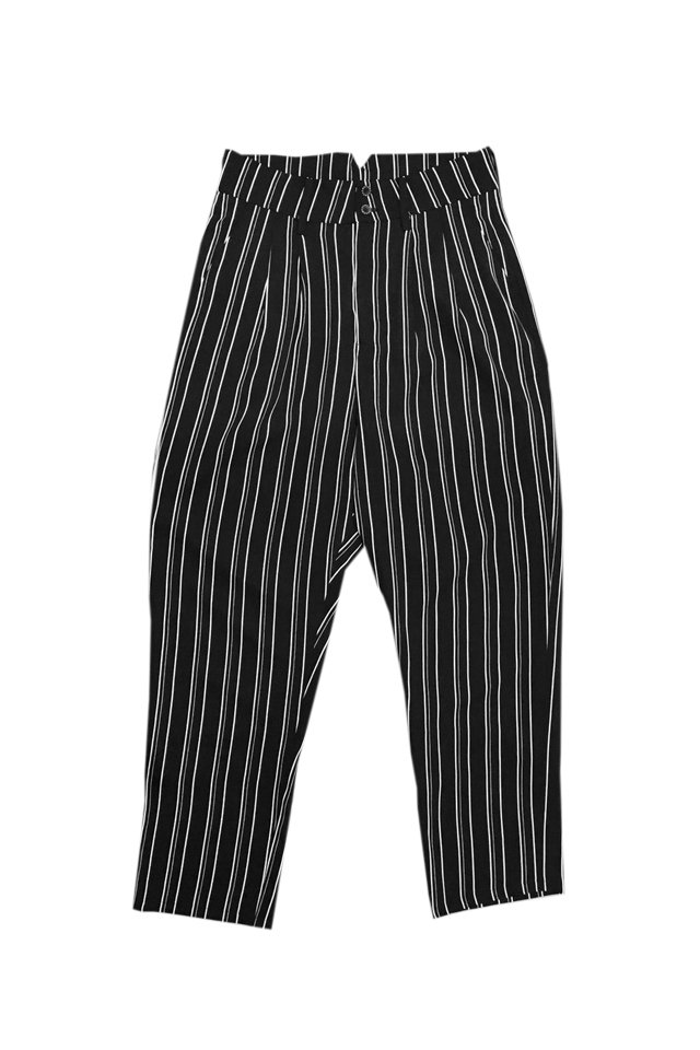 MUZE - STRIPE SLACKS(BLACK)「ミューズ」[パンツ]