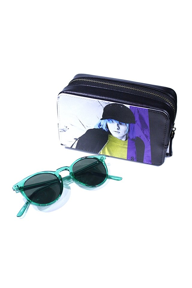 H>FRACTAL - CLEAR SUNGLASS (GREEN×BLACK) GRAPHIC POUCH SET「フラクタル」[サングラス]