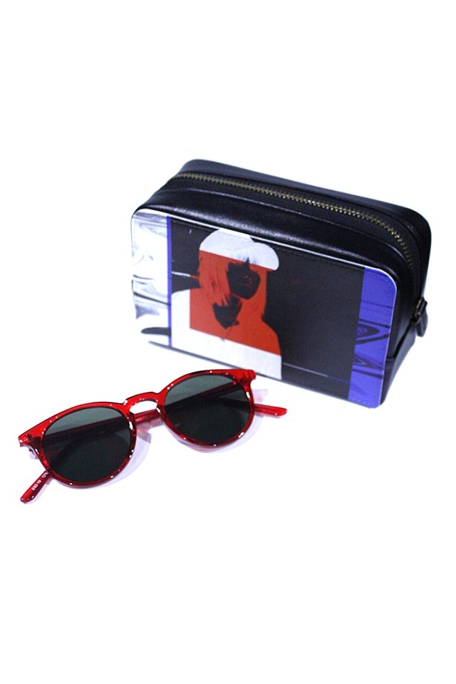 H>FRACTAL - CLEAR SUNGLASS (RED×BLACK) GRAPHIC POUCH SET「フラクタル」[サングラス]