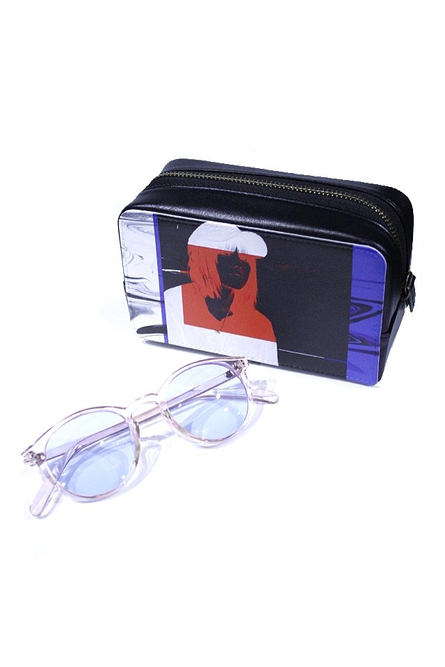 H>FRACTAL - CLEAR SUNGLASS (LIGHT PINK×LIGHT BLUE) GRAPHIC POUCH SET「フラクタル」[サングラス]