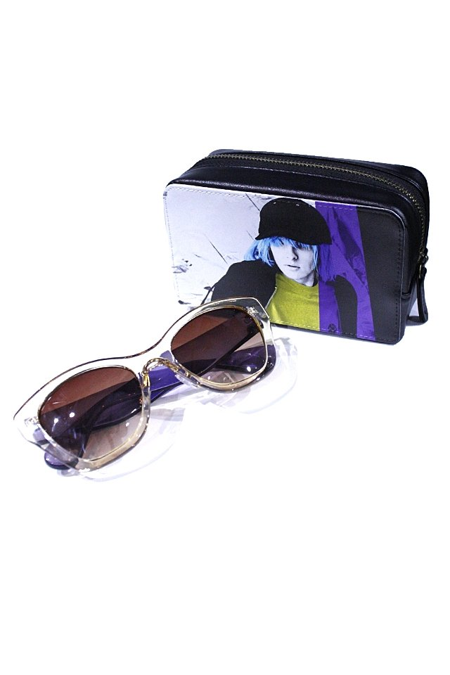 H>FRACTAL - CLEAR SUNGLASS (LIGHT YELLOW×LIGHT PURPLE) GRAPHIC POUCH SET「フラクタル」[サングラス]