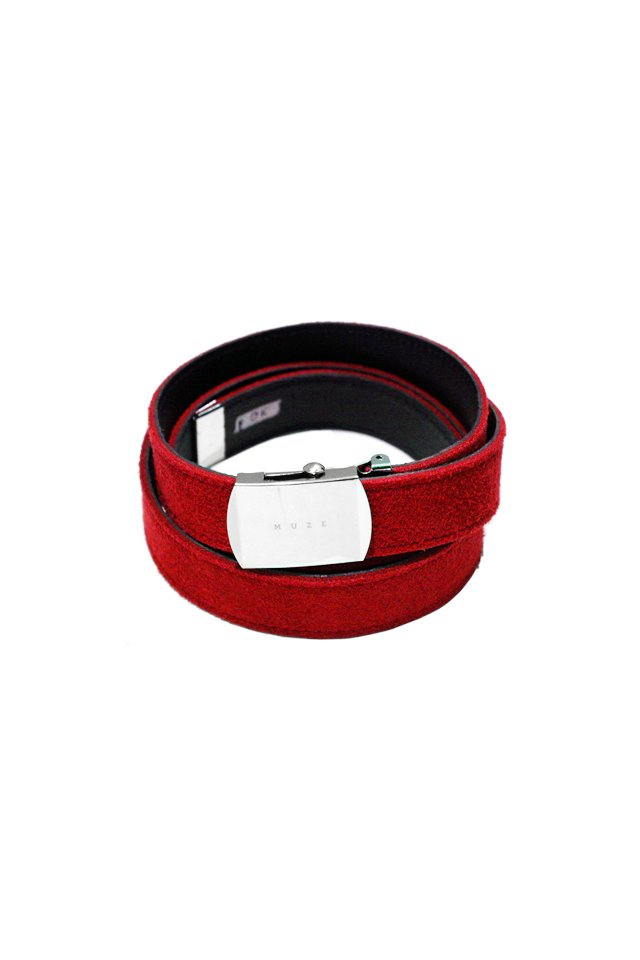 MUZE×O.K - SUEDE LONG BELT (RED×BLACK) 「ミューズ」[ベルト]