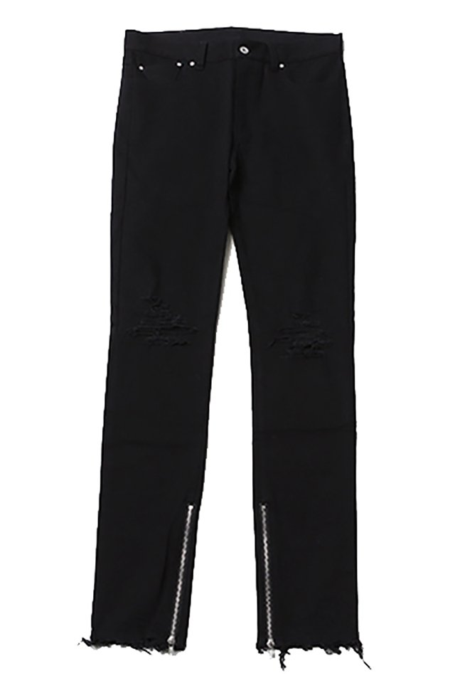 SILLENT FROM ME - EBONY -Damaged Side Zip Skinny- (BLACK) [サイレントフロムミー]「スウェット」